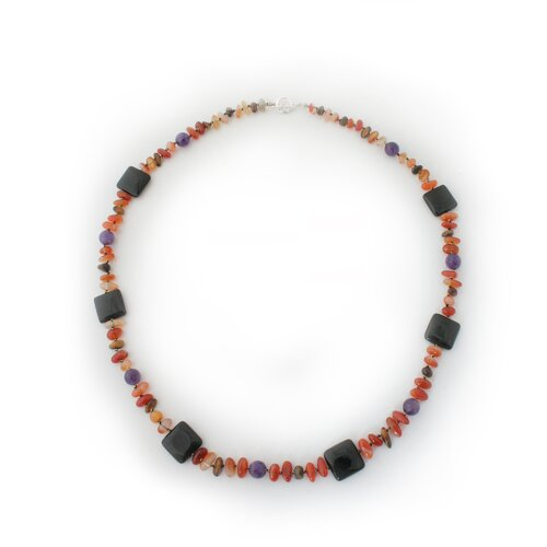 The Kai Kittima Artisan Autumn Orchid Onyx and Amethyst Beaded Necklace