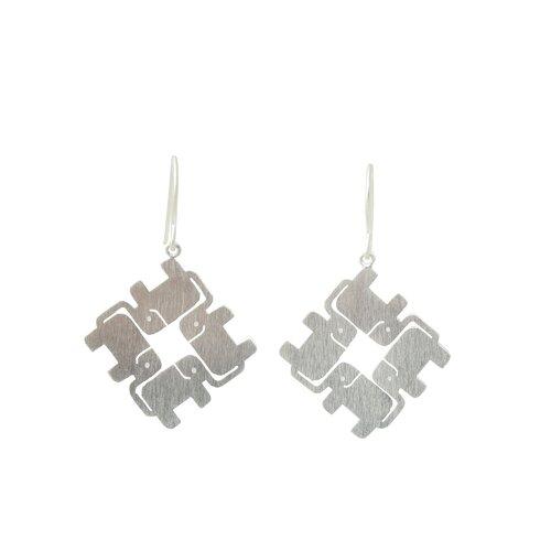 The Jantana Artisan Elephant Matrix Dangle Earrings