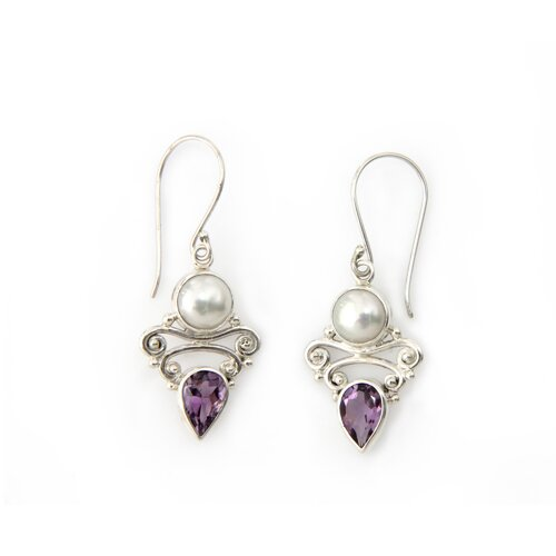 The Buana Artisan Cultured Pearl and Amethyst Guardian Moon Dangle Earrings