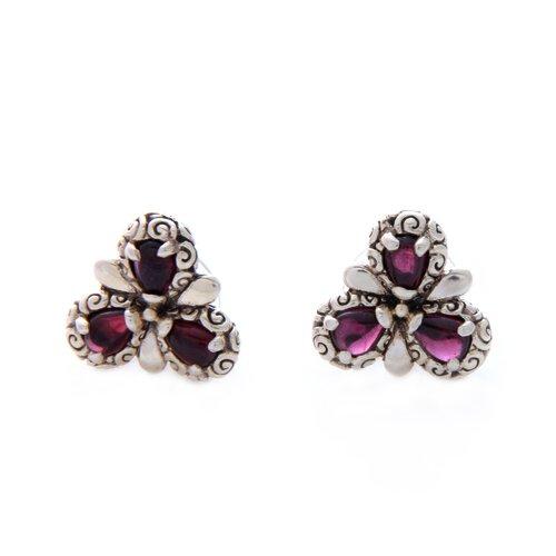 The Zayd Makarim Artisan Garnet Red Bougainvillea Flower Earrings