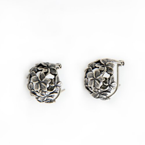 Novica The Kenari Artisan Sterling Silver Geraniums Flower Earrings