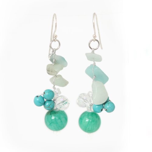 Novica The Nareerat Artisan Amazonite Morning Skies Cluster Earrings
