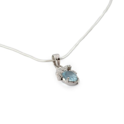 Novica The Parul Artisan Blue Topaz In Love Flower Necklace