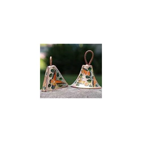 Novica The Olimpia and Pepe Artisan Monarch Butterfly Copper Bells