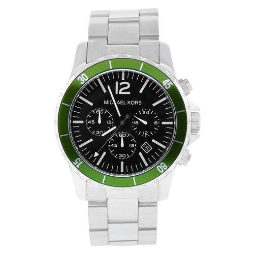 Michael Kors Men's Classic Green Bezel Watch with Black Chronograph Dial