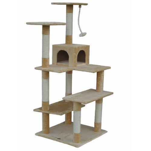 """Go Pet Club 65"""" Cat Tree Condo House in Beige"""