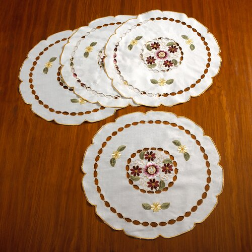 Orchid Embroidered Vintage Design Round Doilie (Set of 4)