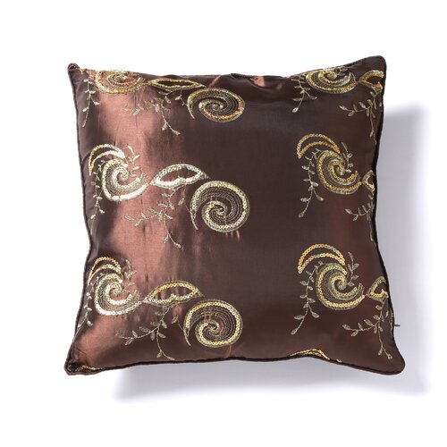 Silky Indiana Embroidered Sequins Decorative Throw Pillow