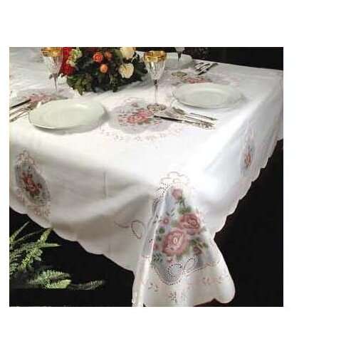 Violet Linen Fontainebleau Flower Embroideredred Tablecloth