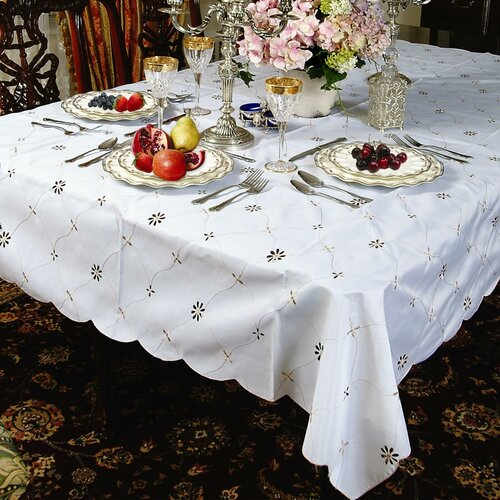 Violet Linen Dotty Embroidered Design Tablecloth