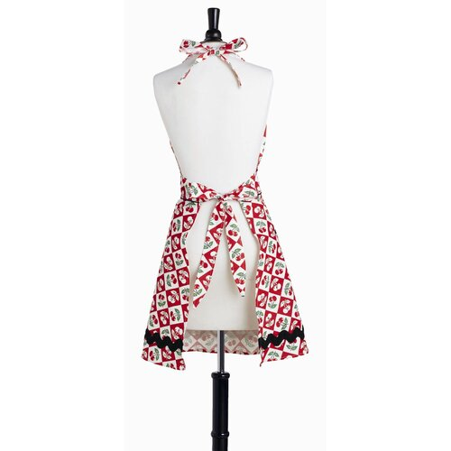 Violet Linen Diamond Cherries Bombshell Apron