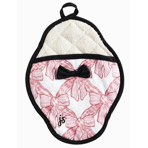 Pink Velvet Bows Scalloped Pot Mitt