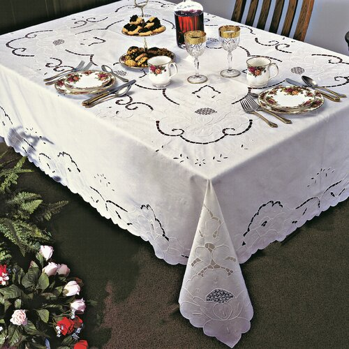 Violet Linen Sapphire Embroidered Design Tablecloth
