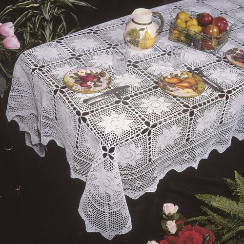 Violet Linen Stars Crochet Design Tablecloth