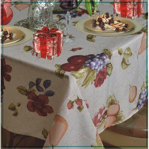 Violet Linen European Paradise Fruits Vintage Design Printed Tablecloth