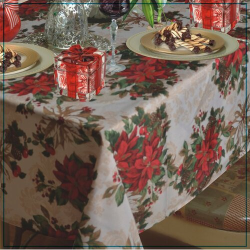 European Christmas PoinSettia Garden Design Printed Tablecloth