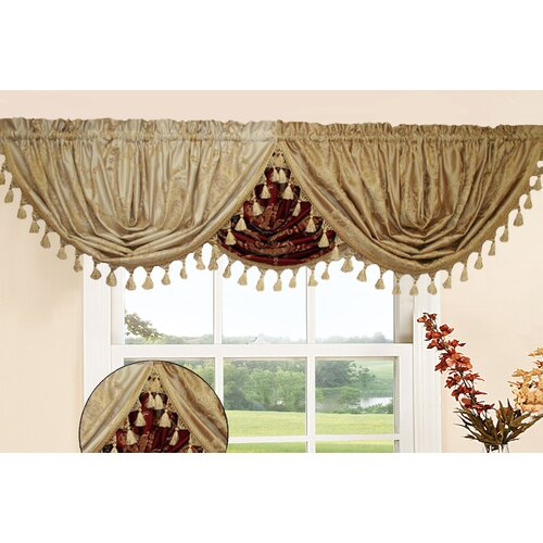 "Violet Linen Prestige Damask Design Water Fall 48"" Curtain Valance"