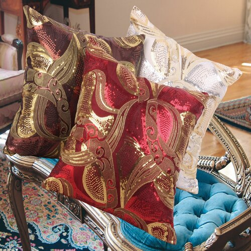 Marvelous Vintage Embroidered Sequins Decorative Throw Pillow
