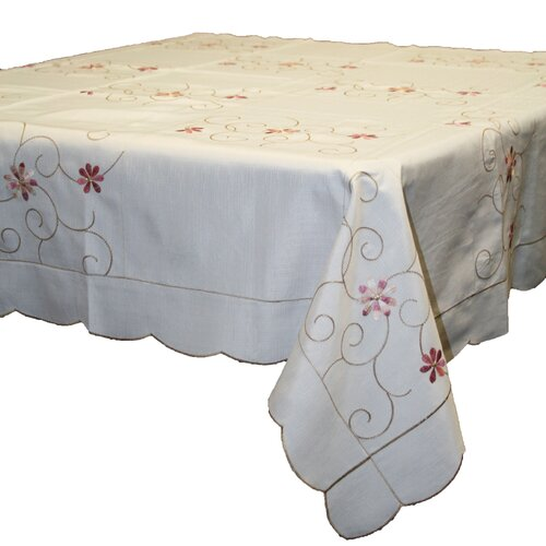 Violet Linen New Orleans Embroidered Design Tablecloth