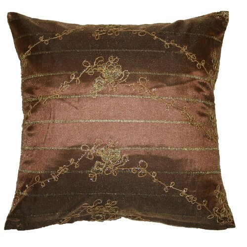 Violet Linen Swiss Embroidered Lace Decorative Cushion Cover