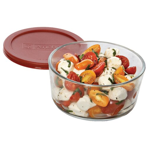 Anchor Hocking 7 Cup Round Kitchen Storage Container with Red Lid