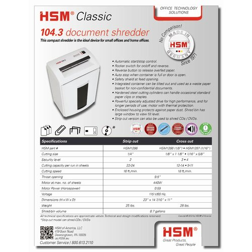 HSM of America,LLC Classic 104.3c, 12-14 sheets, cross-cut, 8.7 gal. capacity