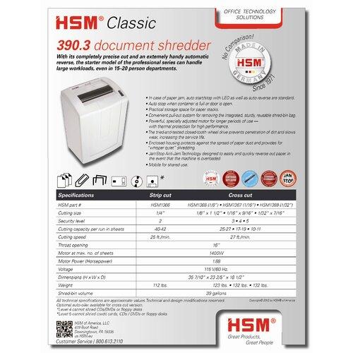 HSM of America,LLC Classic 390.3, 40-42 sheets, strip-cut, 39 gal. capacity
