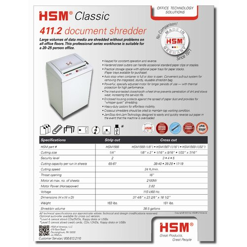 HSM of America,LLC 411.2c, 38-40 sheets, cross-cut, 38.5 gal. capacity