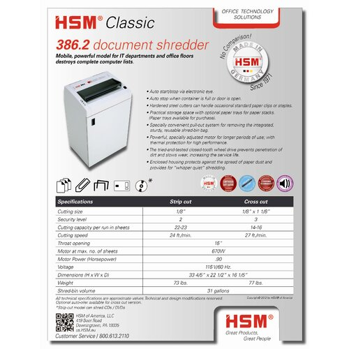 HSM of America,LLC Classic 386.2c, 14-16 sheets, cross-cut, 31 gal. capacity