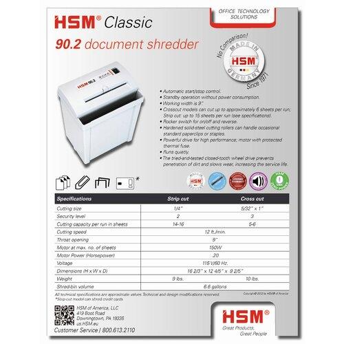 HSM of America,LLC 90.2, 14-16 sheet, strip-cut, 6.6 gal. capacity