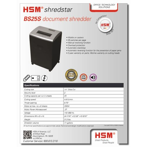 HSM of America,LLC Shredstar BS25S, 25 sheet, strip-cut, 7.1 gal. capacity