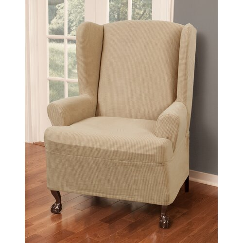 ... Stretch One Piece Wing Chair T-Cushion Slipcover & Reviews  Wayfair
