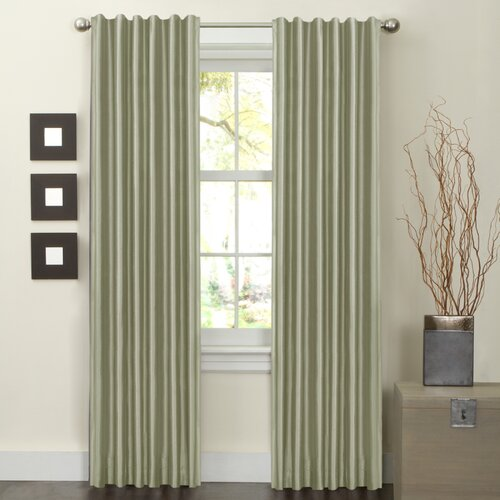 Maytex Faux Silk Rod Pocket Curtain Panel Pair