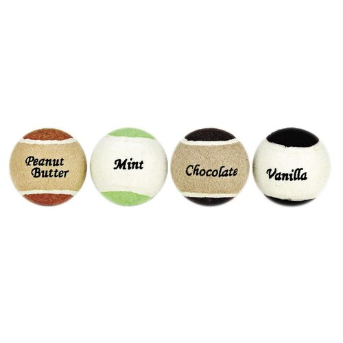 Ethical Pet Yummy Ball Flavored Tennis Ball Dog Toy (4 Pack)
