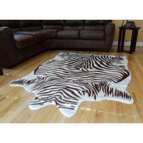 Animal Hide Brown/White Zebra Hide Rug
