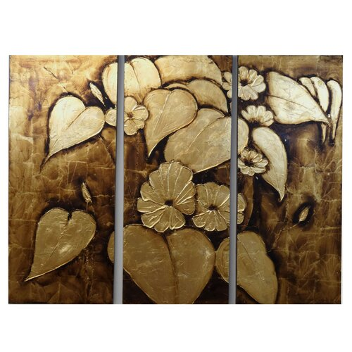 Bronze Leaves 3 Piece Original Painting on Canvas Set