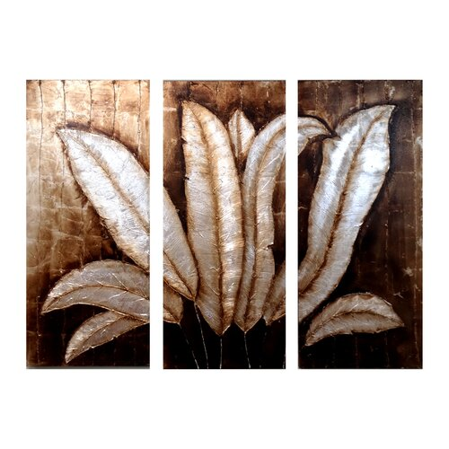 Feathered Petals 3 Piece Original Painting on Canvas Set