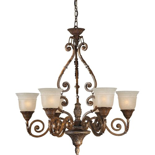 Forte Lighting 6 Light Chandelier with Mica Flake Glass Shades