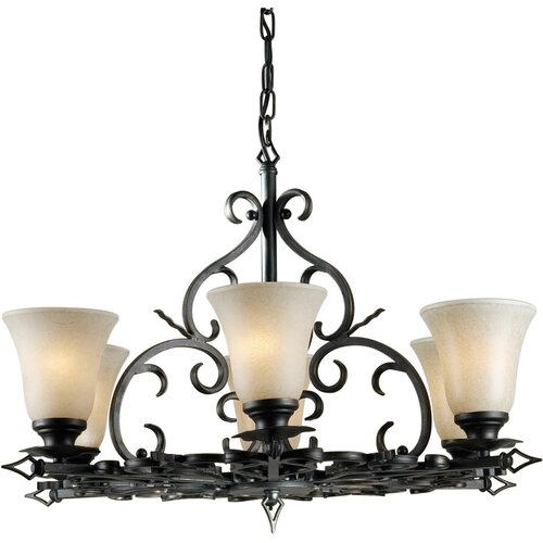 Forte Lighting 6 Light Chandelier with Mica Flake Shades