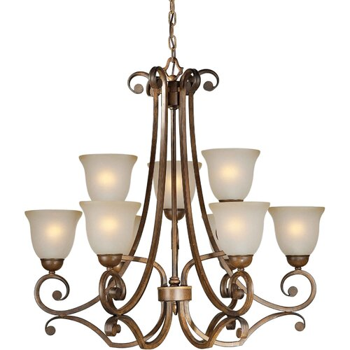 Forte Lighting 9 Light Chandelier with Umber Glass Shades