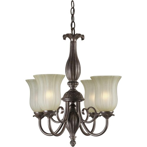 4 Light Chandelier with Umber Mist Shades