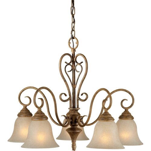 Forte Lighting 5 Light Chandelier with Mica Flake Glass Shades