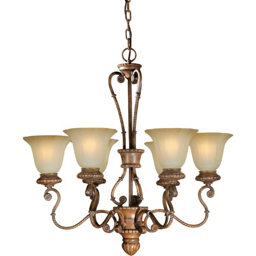 Forte Lighting 6 Light Chandelier with Umber Glass Shades