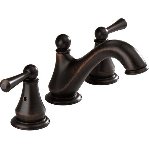 delta lewiston widespread bathroom faucet with double lever handles