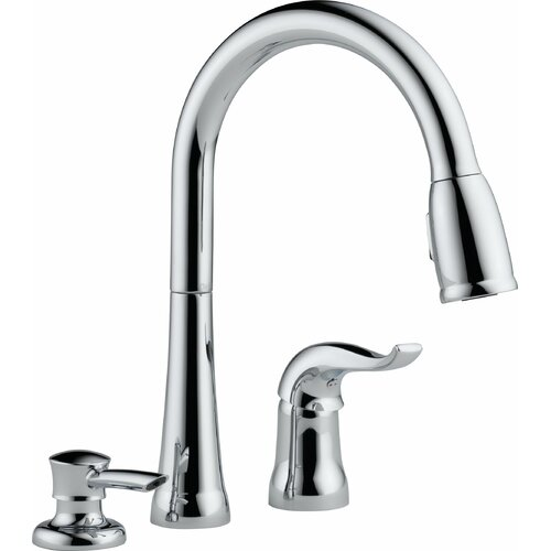 Kate Pull Down Single Handle Widespread Kitchen Faucet with Soap Dispenser and Diamond Seal ...