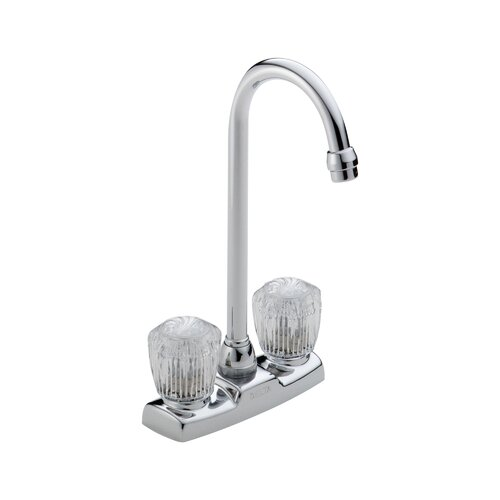 Delta Classic Double Handle Centerset Bar Kitchen Faucet with Clear Knob Handles