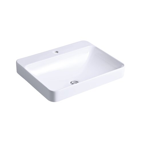Kohler Vox Rectangle Vessels with Faucet Deck and Single-Hole Drilling