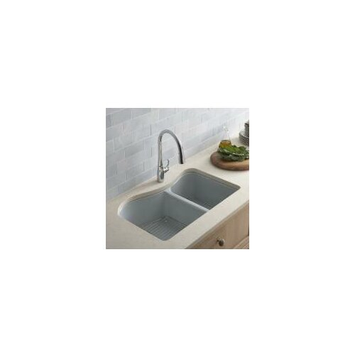 "Kohler Lawnfield 33"" x 22"" Under-Mount Large/Medium Double-Bowl Kitchen Sink with 4 Oversize Faucet Holes"