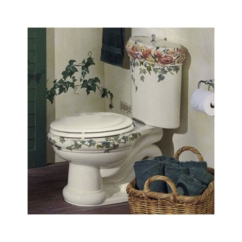 Peonies & Ivy Design On Revival Two-Piece Elongated 1.6 Gpf Toilet with Ingenium Flush ...