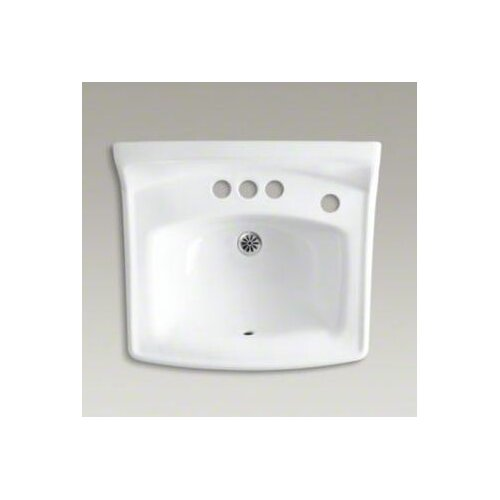 """Kohler Greenwich 20-3/4"""" X 18-1/4"""" Wall-Mount/Concealed Arm Carrier Bathroom Sink with 4"""" Centers and Right-Hand Soap Dispenser Hole"""